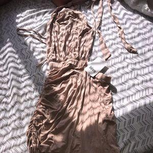 Tan shirres backless halter dress
